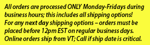 ships during regular business hours, including next day; noon latest