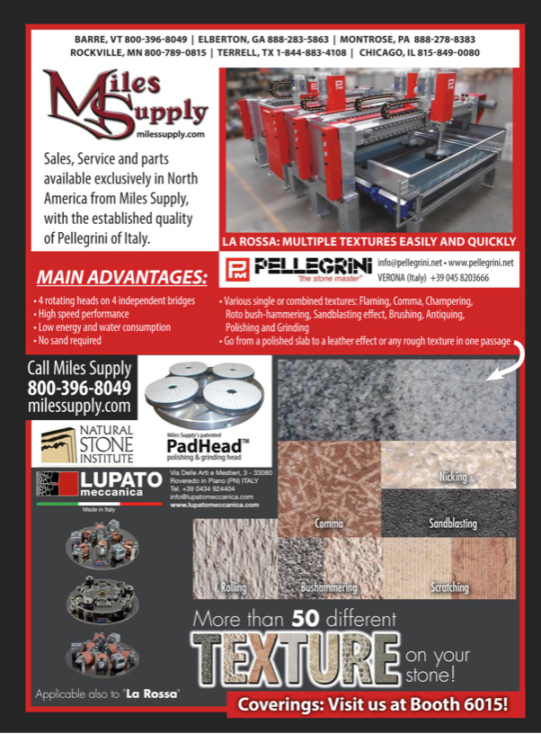 stoneworld ad with pellegrini and lupato for coverings show