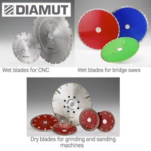 Diamut tools wet blades for CNC and bridge saw and dry blades